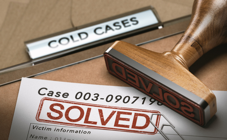 3D illustration of a cold case file with a rubber stamp and the word solved. concept of successful police investigations