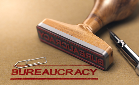 Bureaucracy words stamped on a brown paper with rubber stamp. Red tape concept. 3D illustration Banque d'images - 108570520
