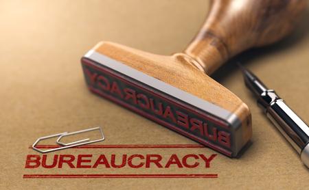 Palabras de burocracia estampadas en un papel marrón con sello de goma. Concepto de burocracia. Ilustración 3D