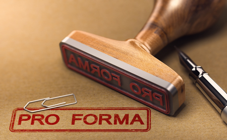 3D illustration of the word pro forma invoice stamped on brown paper with a rubber stamp.