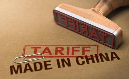 3d Illustration eines Stempels über Kartonhintergrund mit den Wörtern, die in China und im Tarif gemacht werden. Konzept des Handelskrieges. Standard-Bild