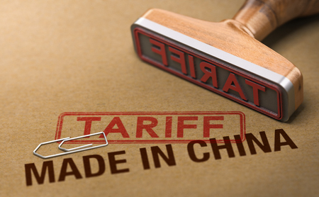 3d illustration of a rubber stamp over cardboard background with the words made in China and tariff. Concept of trade war. Stock Photo