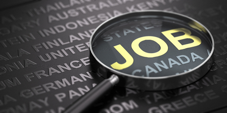 Black background with countries names with focus on the word job witten in golden letters and a magnifying glass. International recruitment concept. 3D illustration