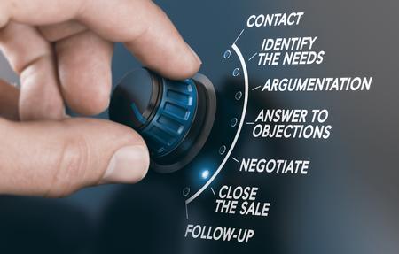 Mann, der einen Knopf dreht, um einer Schritt-für-Schritt-Verkaufsanleitung zu folgen. Zusammengesetztes Bild zwischen einer Handfotografie und einem 3D-Hintergrund. Standard-Bild