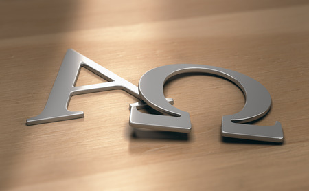 3d illustration of alpha and omega symbols, first and last letters of the greek alphabet. Фото со стока