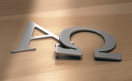 Ilustración 3d de los símbolos alfa y omega, primera y última letra del alfabeto griego.