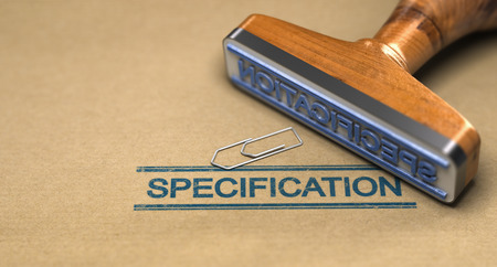 3D illustration of a rubber stamp over paper bacground. Concept of technical spectification standard Stock Illustration - 109323041
