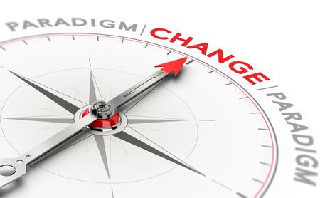 3D illustratie van een kompas met naald die de woordverandering richt. Concept van paradigmaverschuiving