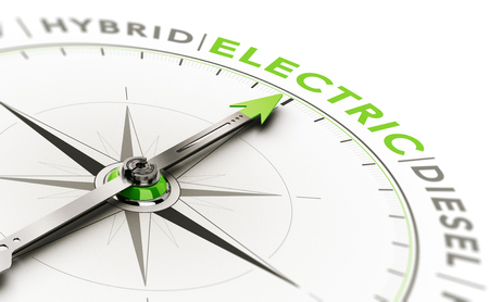 3D illustration of a compass with needle pointing the word electric. Concept of vehicle type choice.