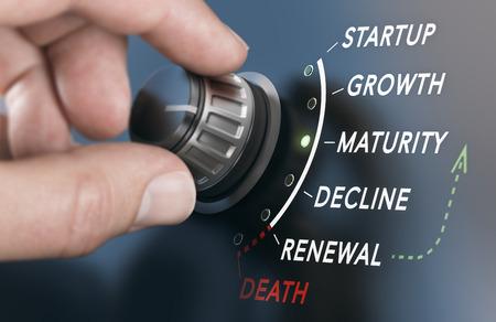 Girar a mano un interruptor de ciclo de vida empresarial con seis fases diferentes. Imagen compuesta entre una fotografía de mano y un fondo 3D. Foto de archivo