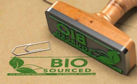 Biocourced material stamped with green color on paper background with rubber stamp. 3D illustration.
