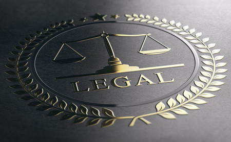 Legal symbol with scales of justice, golden sign embossed on black paper background. 3D Illustration