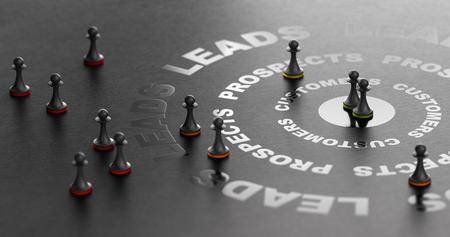 Illsutration 3D del embudo de compra sobre fondo negro. Concepto de marketing entrante. Conversión de leads en ventas Foto de archivo