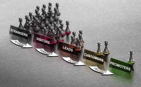 Inbound-Marketing-Prinzipien auf schwarzem Hintergrund mit Pfandzeichen und Pfeilen. Stufen vom Fremden zum Promoter. 3D-Darstellung