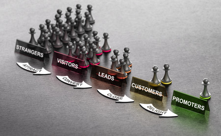 Principes de marketing entrant sur fond noir avec des signes et des flèches de pions. Étapes de l'étranger au promoteur. illustration 3D