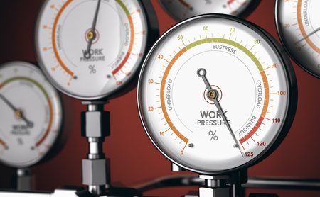 3D illustration of gauges with one with the needle pointing the burnout position. Concept of occupational burn-out
