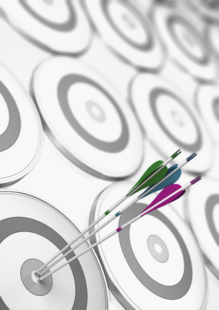 Three different arrows hitting the center of a white and grey target. Success and performance improvement concept. 3D illustration. Archivio Fotografico - 111833112