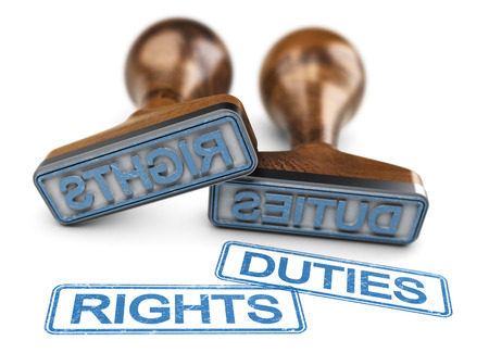 Two rubber stamps with the words rights and duties over white background. 3D illustration.
