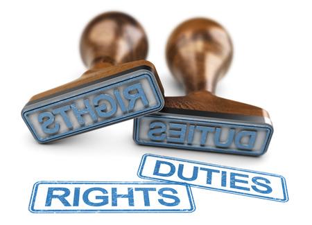 Zwei Stempel mit den Worten Rechte und Pflichten auf weißem Hintergrund. 3D-Darstellung. Standard-Bild