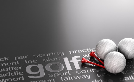 3D illustration of three golf balls and tees over black background with related words.