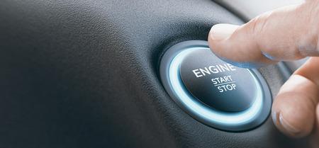 Finger, der einen Motorstartknopf mit blauer Farbe drückt. Zusammengesetztes Bild zwischen einer Handfotografie und einem 3D-Hintergrund.