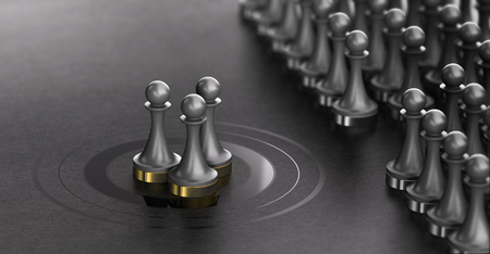Illustrazione 3D di pedine su sfondo nero con tre di loro al centro di un bersaglio. Talent Scouting e concept talenti individuati