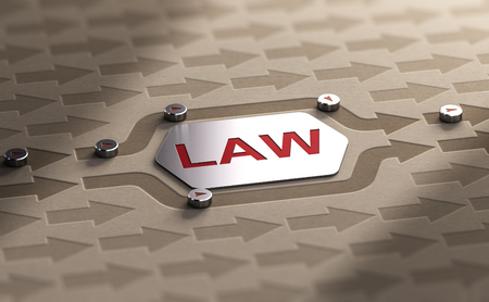 3D illustration of many arrow with two of them getting around the word law. Circumvention of the legal system concept