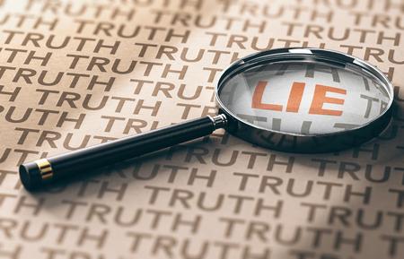 Illustrazione 3D di una lente di ingrandimento con focus sulla parola bugia su sfondo di carta kraft, concetto di investigatore privato.