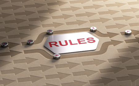 3D illustration of arrows getting around the word rules. Stock Photo