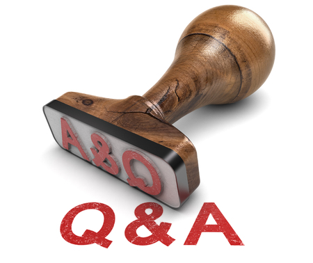 Q and A, question and answer rubber stamp over white background. 3D illustration Reklamní fotografie