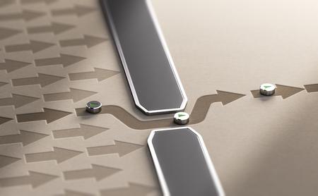Ilustración 3d de flechas bloqueadas por una pared más una que atraviesa una brecha. Eludir la censura o sortear el concepto de dificultades. Foto de archivo