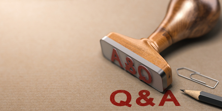 Q and A, question and answer rubber stamp over paper background. 3D illustration