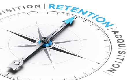 3D illustration of a conceptual compass with needle pointing the word retention instead of acquisition Stock Photo