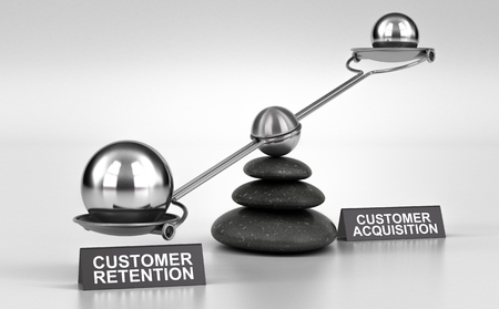 3D illustration of a conceptual scale made with pebbles and two possibilities customer retention or acquisition