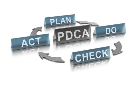 3D illustration of PDCA management method (plan, Do, check and Act) over white background. Concept for continuous improvement in lean manufacturing.