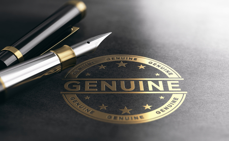 3d illustration of a genuine golden stamp on black paper background. Document authentication concept.