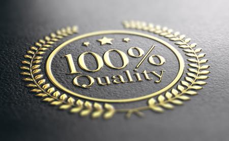 100% Quality Guarantee Golden Stamp Over Black Background, 3d illustration
