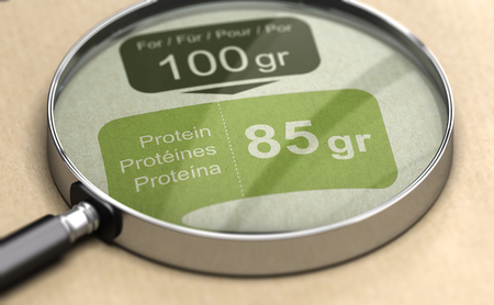 3d illustration of a magnifying glass over protein label. High-protein diet concept.