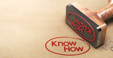 3D illustration of a rubber stamp with the text know-how printed on paper background, Skill concept.