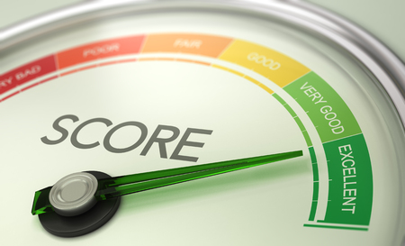 3D illustration of a conceptual gauge with needle pointing to excellent. Business credit score concept. Фото со стока