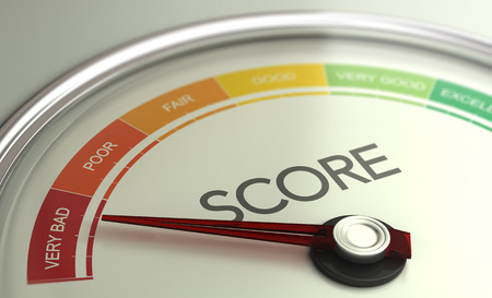 3D illustration of a conceptual gauge with needle pointing to very bad scoring. Business credit score concept. Фото со стока