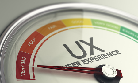 3D illustration of an user experience gauge with the needle pointing very bad UX design.