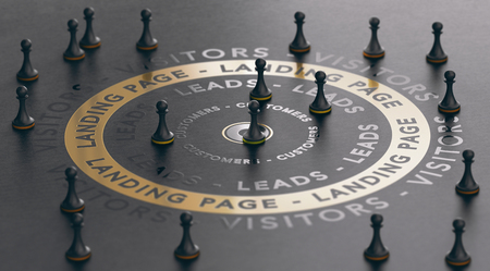3d illustration of an inbound marketing concept with pawns around a golden landing page over black background. Modern design.