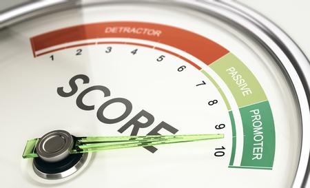 Concepto de KPI, indicador clave de rendimiento, indicador de puntuación del promotor neto con la aguja apuntando al promotor. Foto de archivo