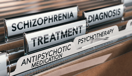 3D illustration of files with schizophrenia diagnosis and treatment with antipsychotic medication and psychotherapy. Mental health conditions concept. Stockfoto