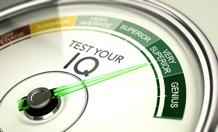 Concept of IQ testing, conceptual gauge with needle pointing very superior intelligence quotient.
