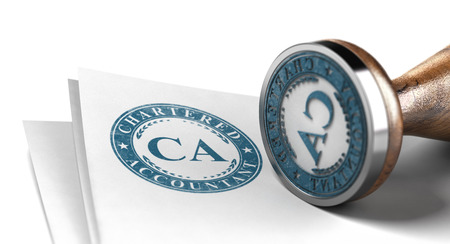 Chartered Accountant Certification. Blue Stamp Printed on a sheet of Paper Over White Background. 3d illustration