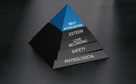 3D illustration of hierarchy of needs with self actualization at the top. Pyramid over black background