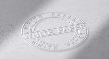 3D illustration of an embosed stamp with the text white paper.