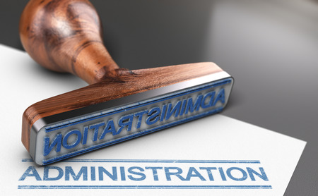 3D illustration of a rubber stamp with the word administration printed in blue color on a sheet of paper Foto de archivo